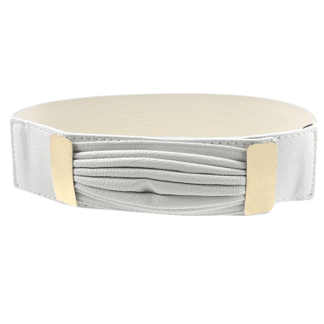 Women Tiered Faux Leather Press Stud Buckle Elastic Cinch Belt White