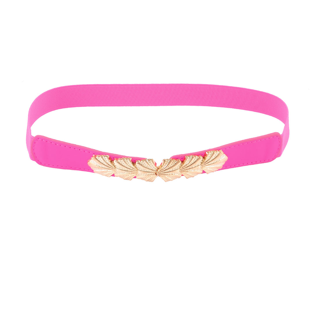 Lady Leaf Interlocking Buckle Stretch Fuchsia Cinch Belt Band Fuchsia