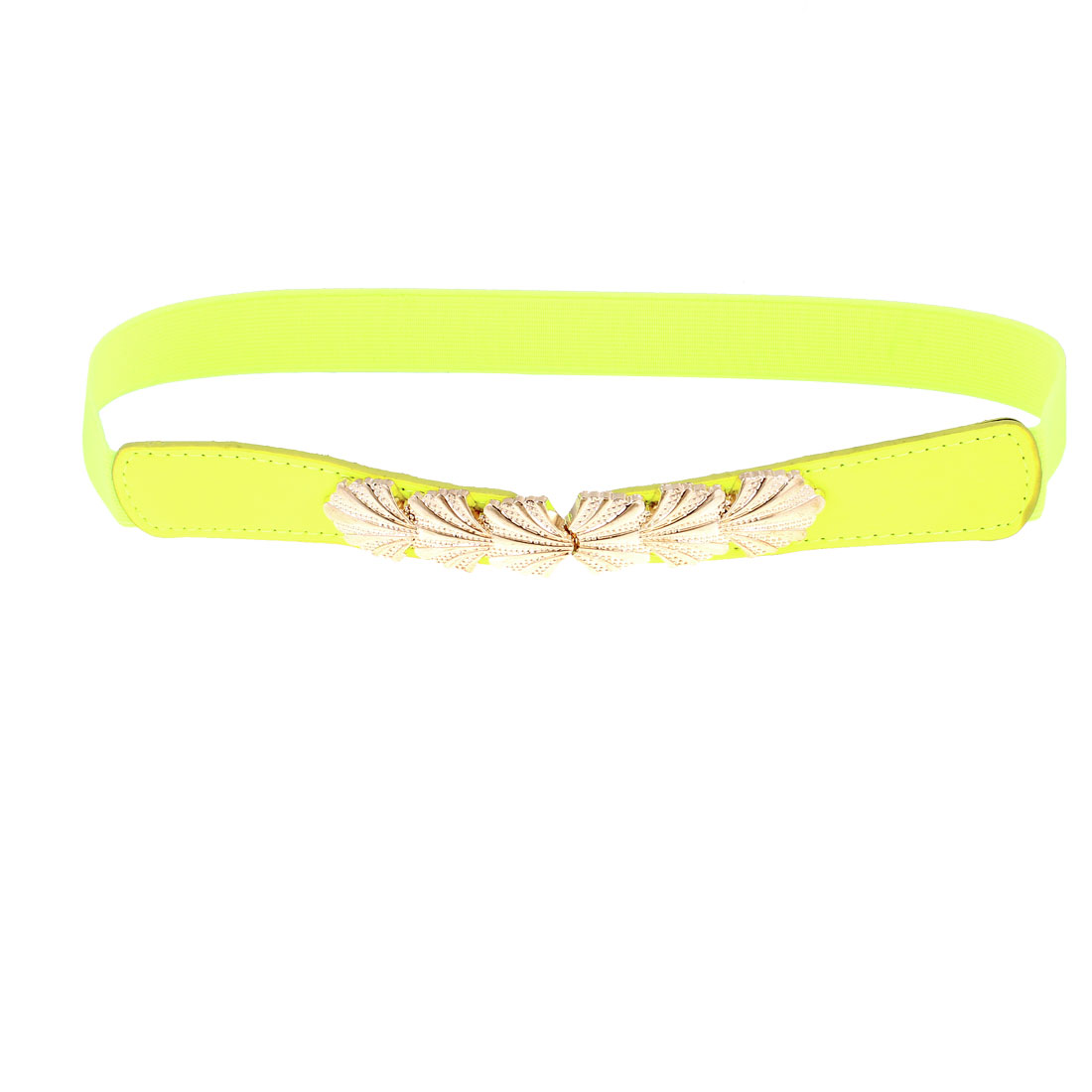 Lady Leaf Interlocking Buckle 2.5cm Wide Elastic Waist Belt Yellow Green