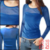 Woman Solid Color Long Sleeve Slim Fit Shirt Top Blue M