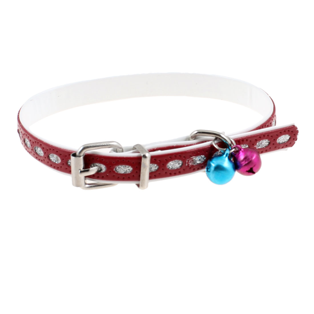 Faux Leather Adjustable Blue Fuchsia Jingle Bell Dog Cat Pet Collar Red