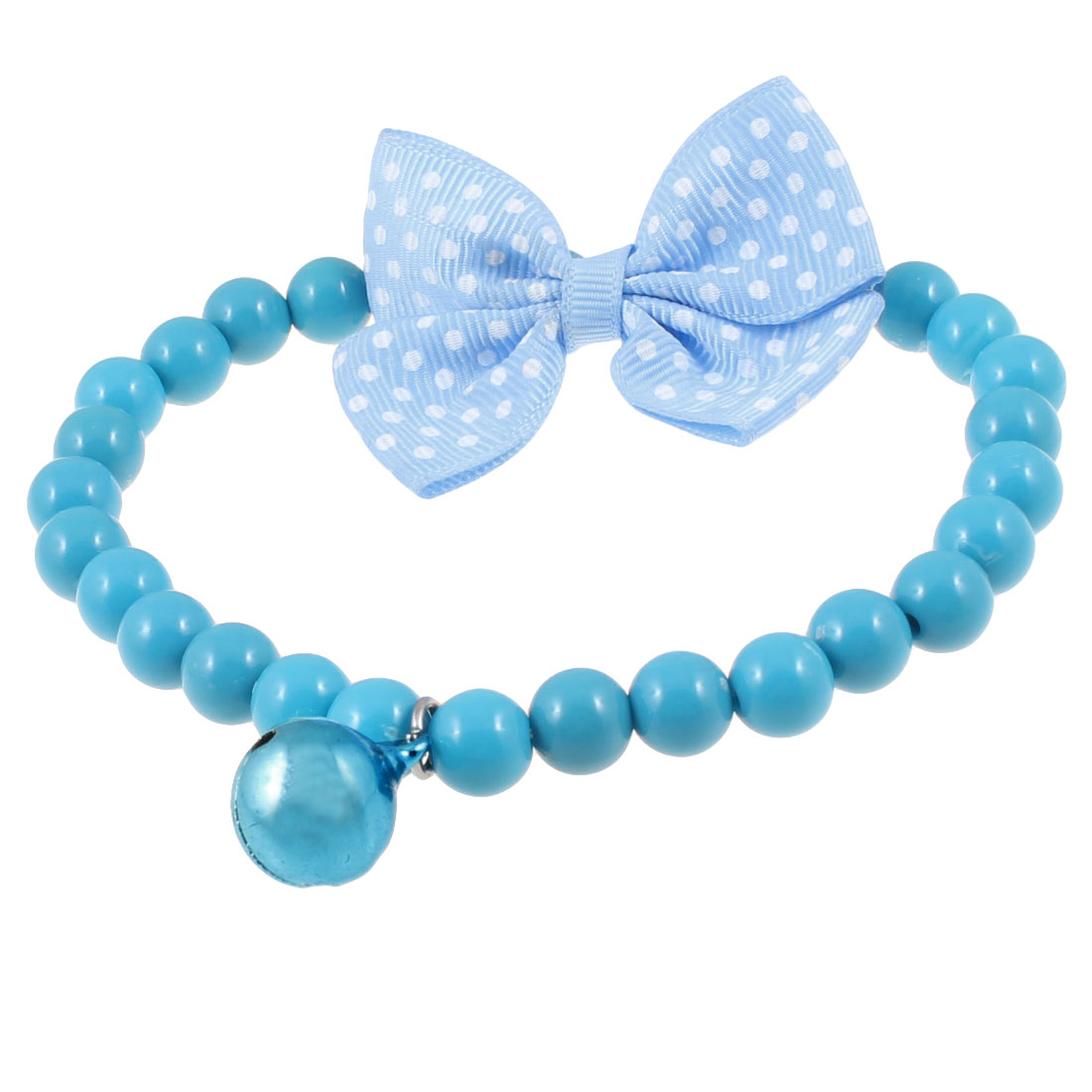 Blue Plastic Beads Jingle Bell Bowtknot Decor Pet Dog Neck Collar