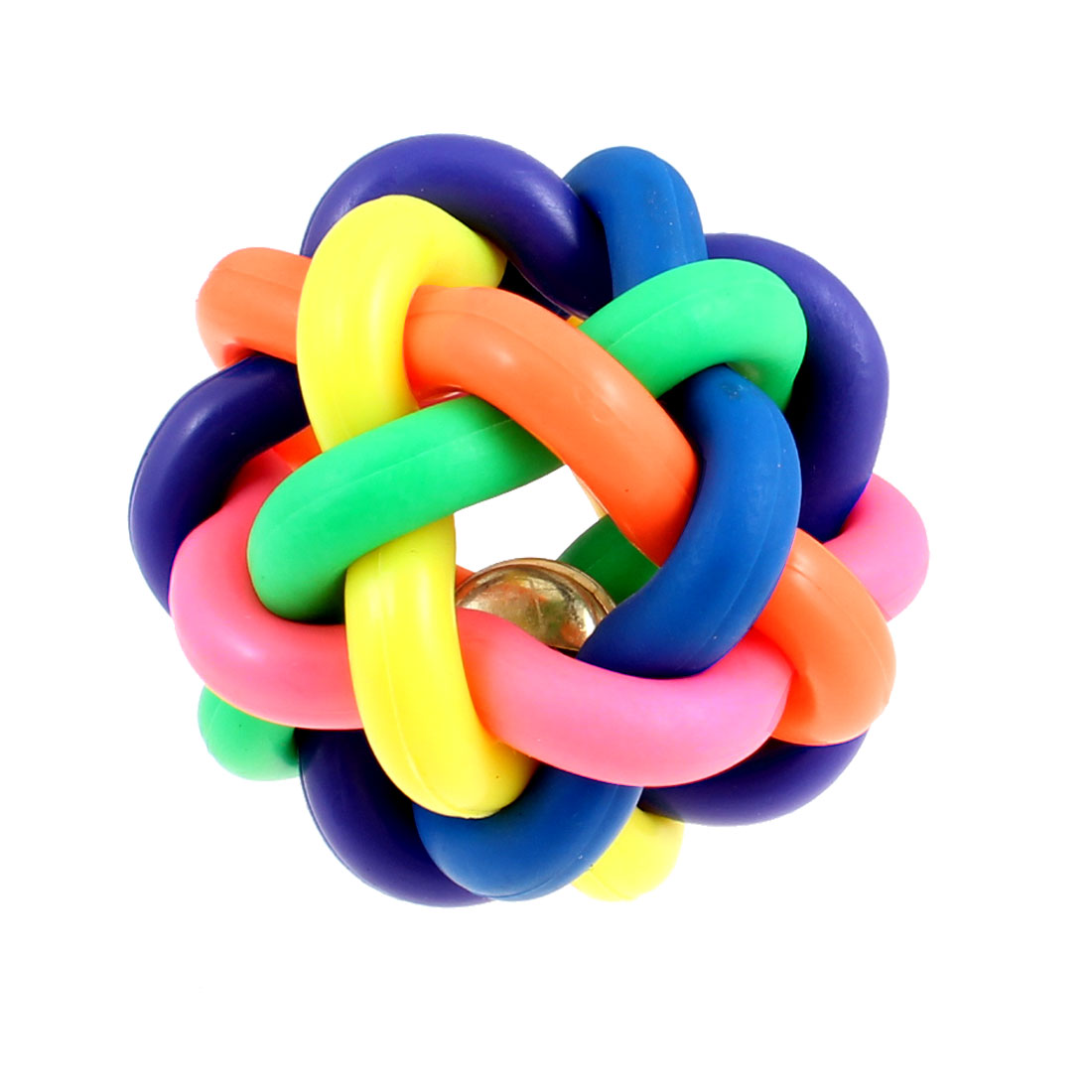 Pet Dog Rubber Cord Woven Jingle Bell Play Ball Toy Colorful 8cm Diameter