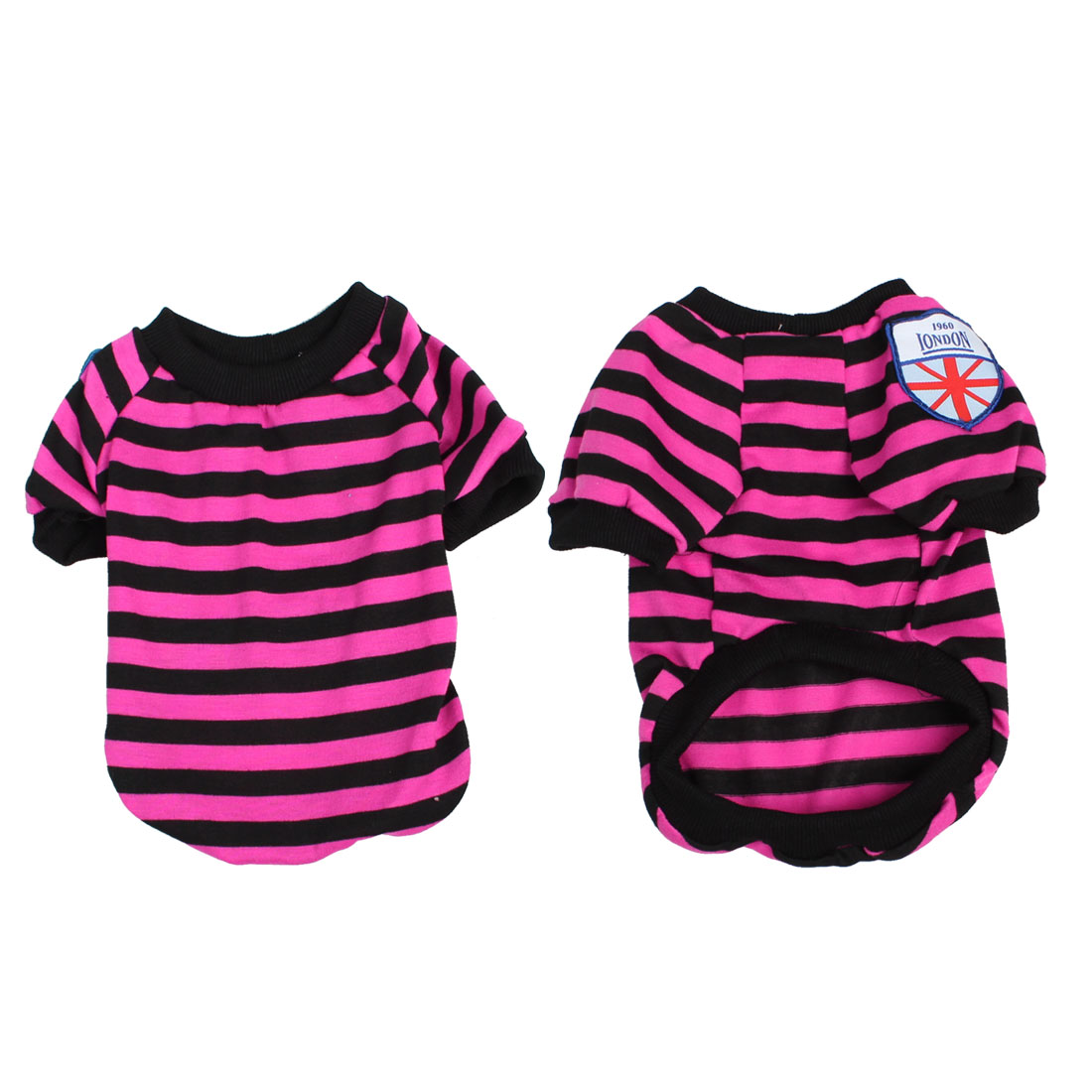Stripe Pattern Round Neck Dog Pet Doggie T Shirt Clothes Fuchsia Black M