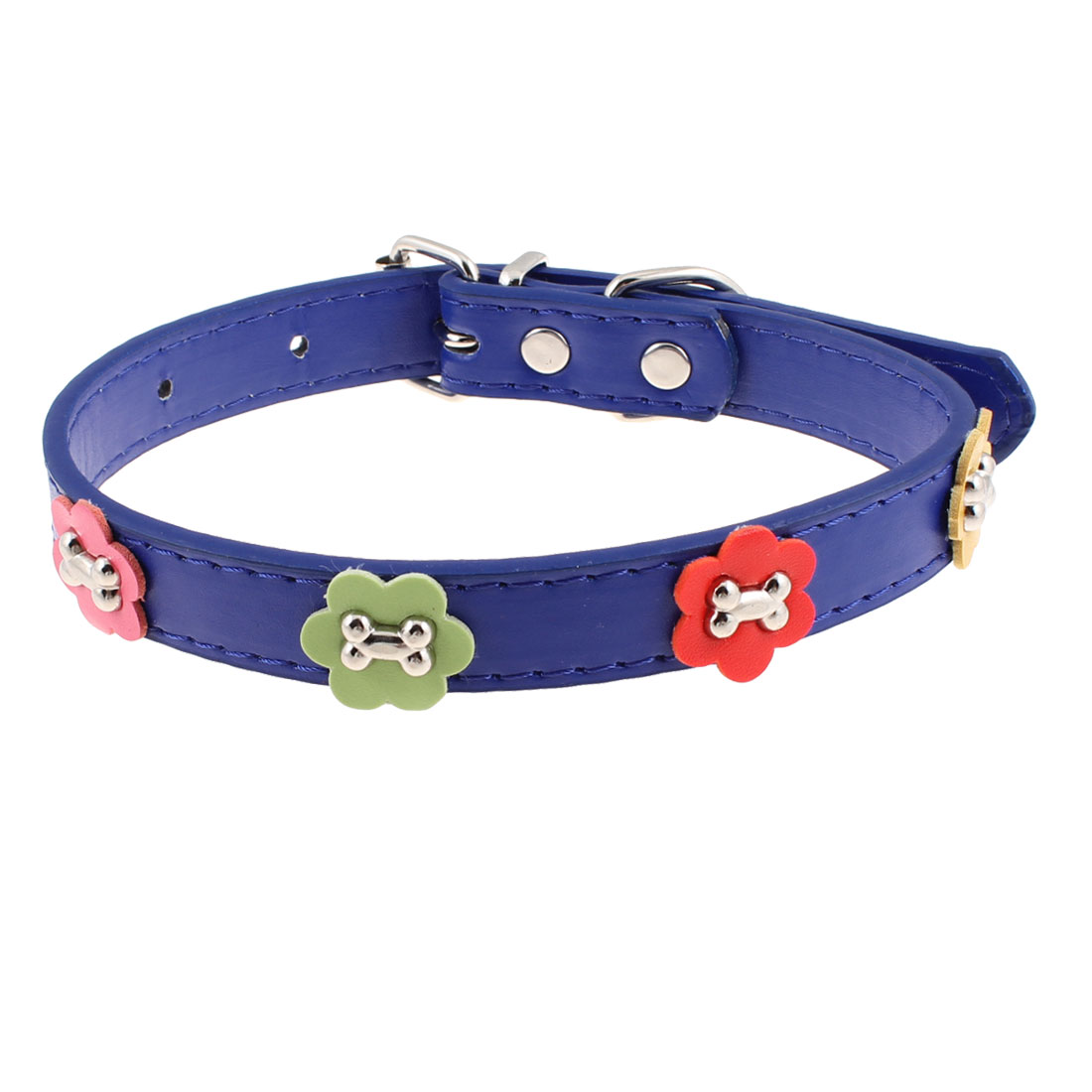 Single Prong Buckle Bone Decor Blue Neck Pet Dog Collar Belt Size M