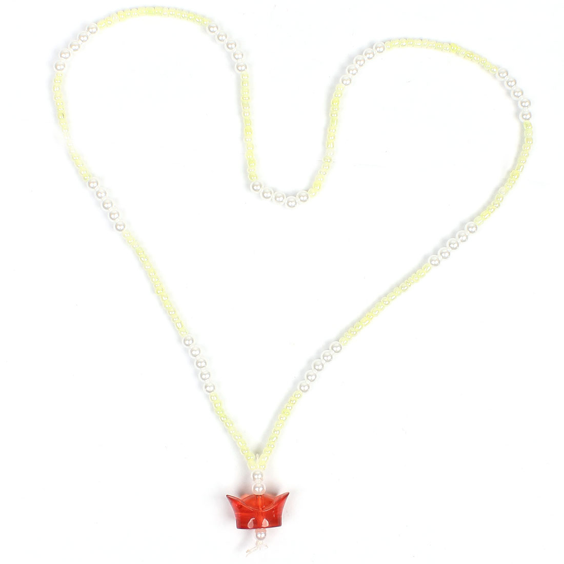 Sycee Round Beaded Decor White Red Pendant Chain Sweater Necklace