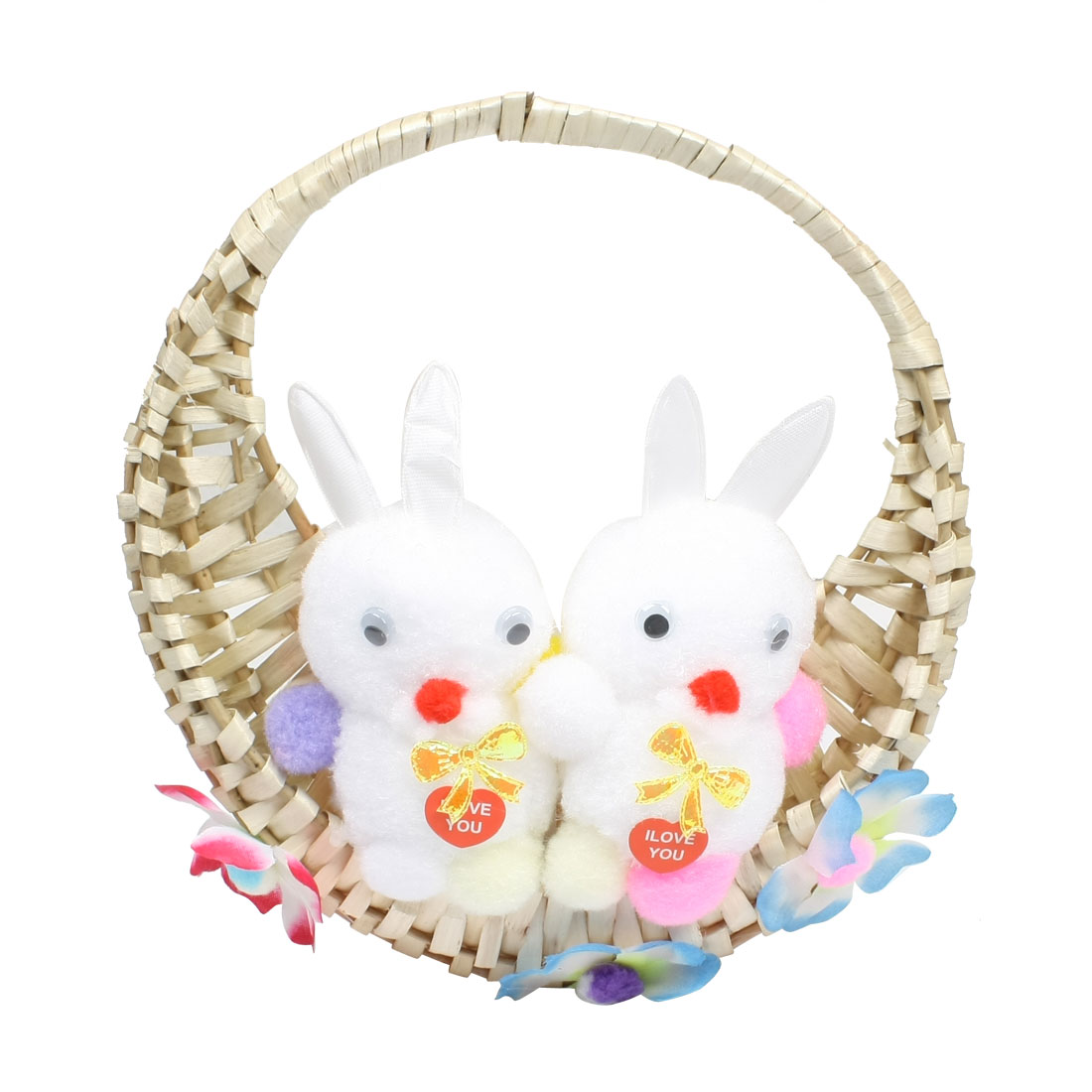 White Pink Blue Sponge Rabbit Flower Decor Bamboo Craft Basket