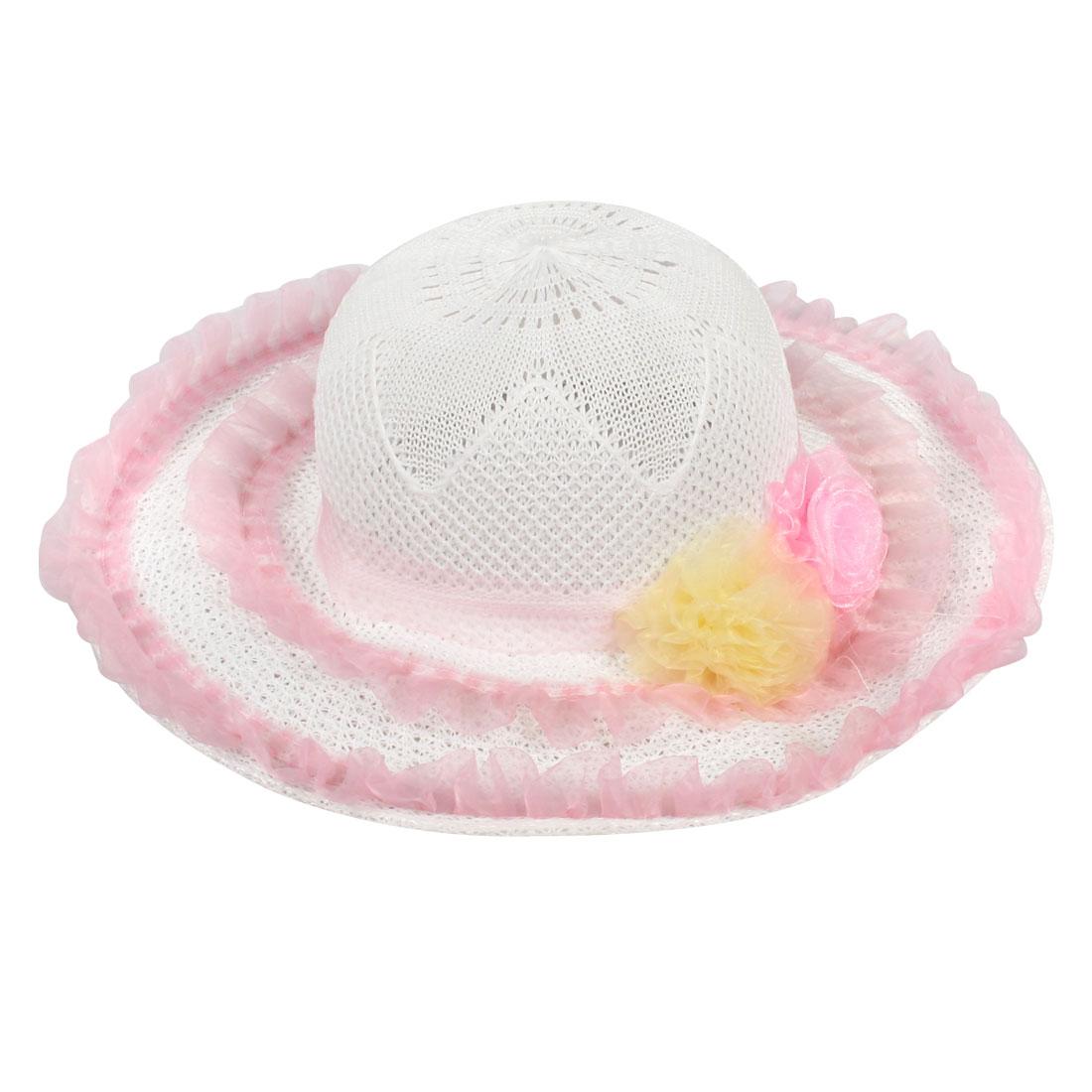 Women 2-Flower Decor White Wide Brim Summer Beach Sun Hat with Neck Strap