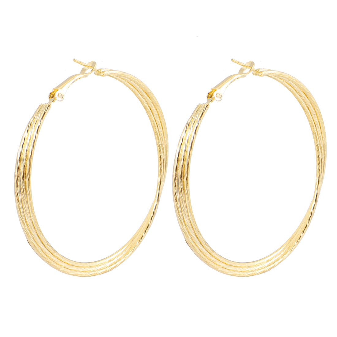 Pair Gold Tone 3 Layers Spring Hoop Earrings Earbob for Lady