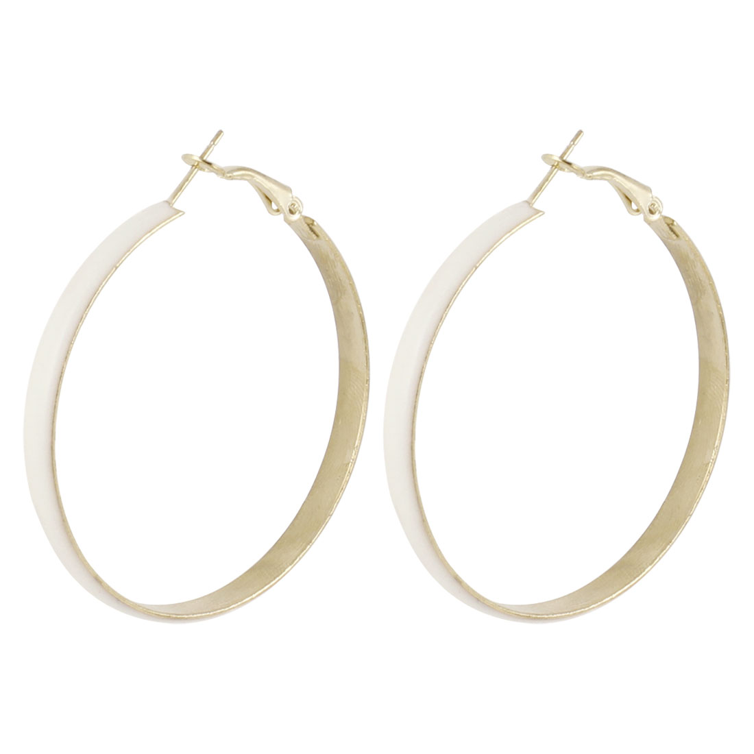 Ladies Alloy Spring Hoop Earrings Eardrop Gold Tone White Pair