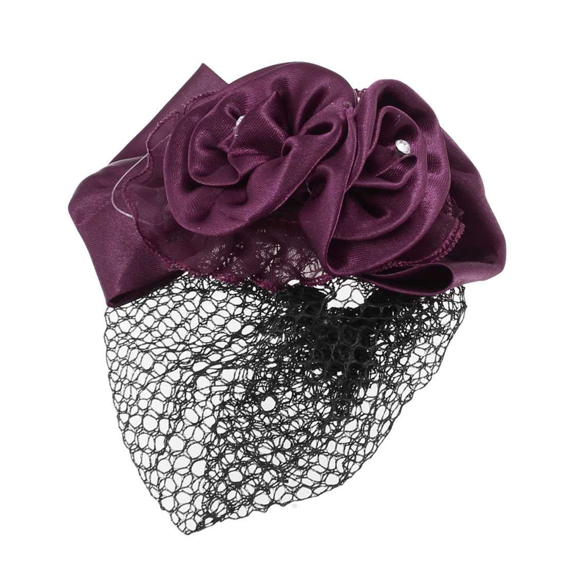 Wine Red Flower Bowknot Hair Clip Snood Net Barrette Bun Cover for Lady