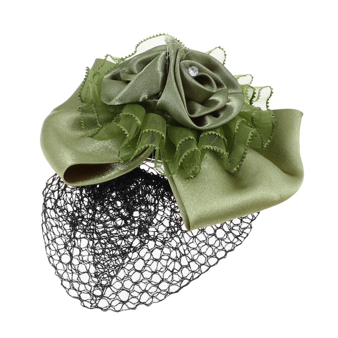 Women Faux Rhinestone Decor Bow Tie Design Barrette Hair Clip Snood Net Green