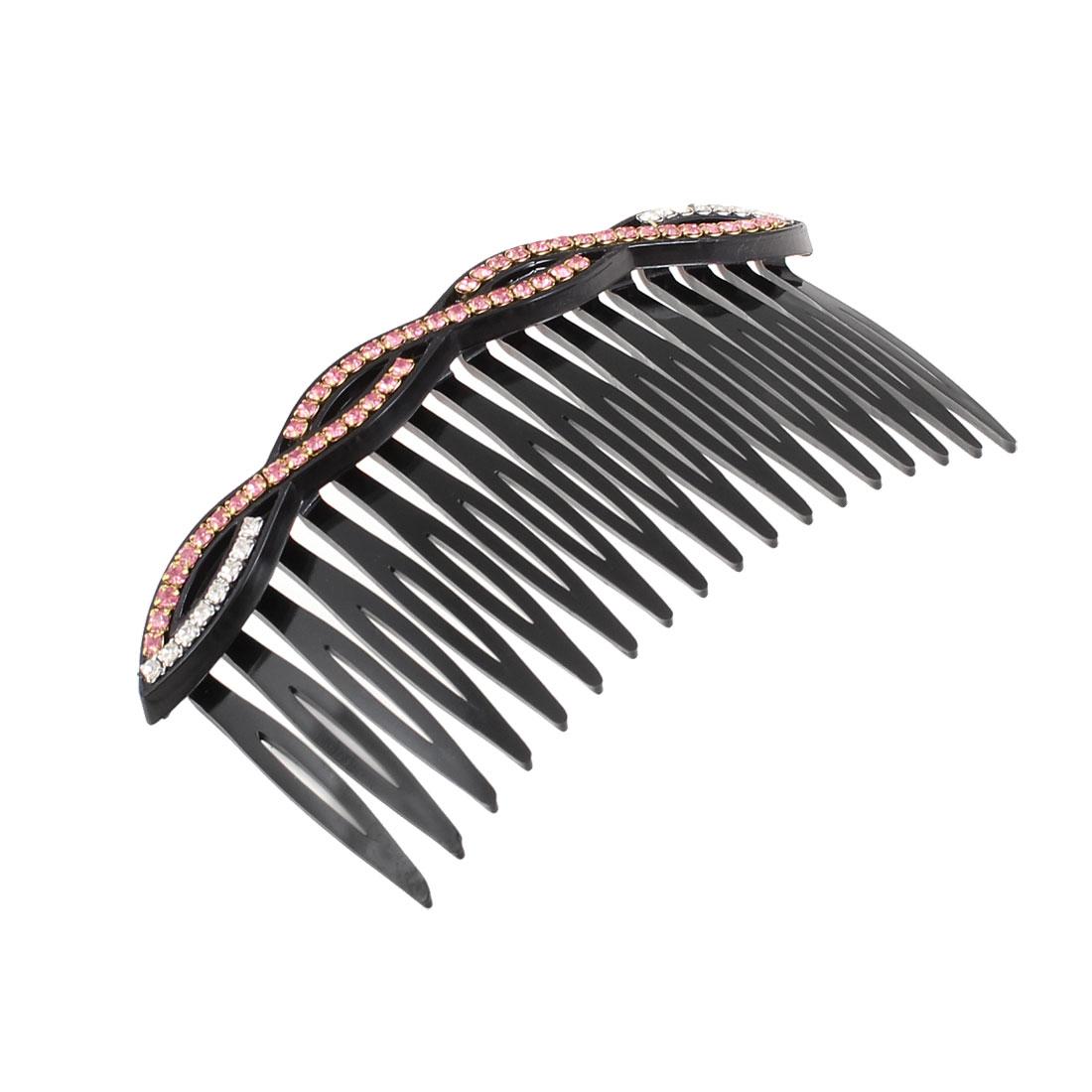 Ladies Light Pink Rhinestone Inlaid Black Comb Hair Clip Comb