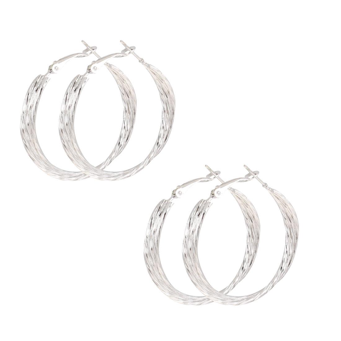 Lady 3.5cm Diameter Twisted Hoop Earrings Silver Tone 2 Pair