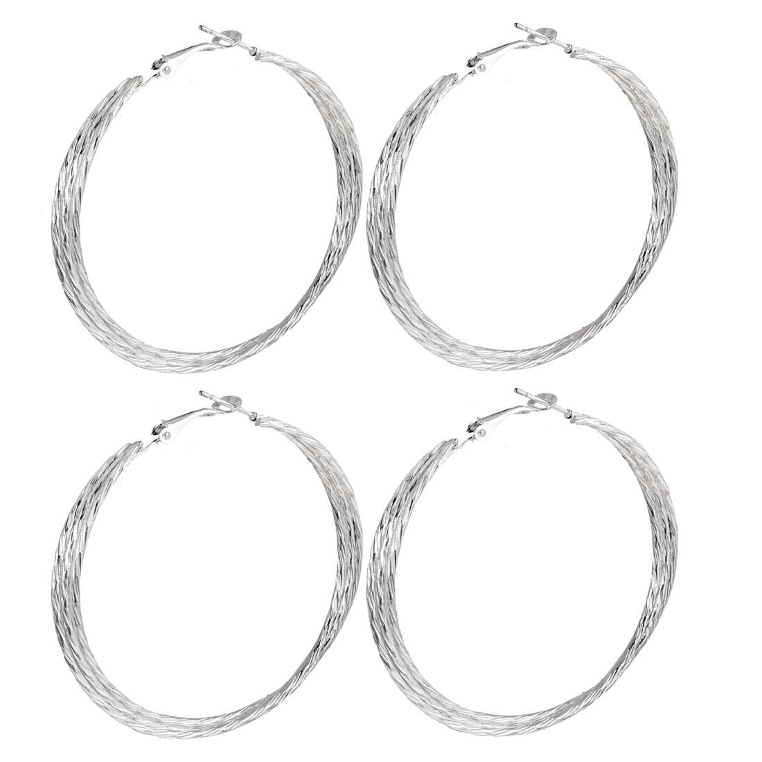 2 Pair Ear Ornament Spiral Hoop Earrings Earbob Silver Tone for Lady