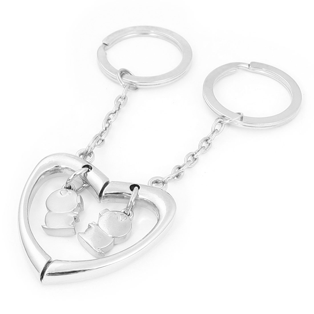 Pair Lovers Silver Tone Metal Heart Pig Dangling Split Key Keychain