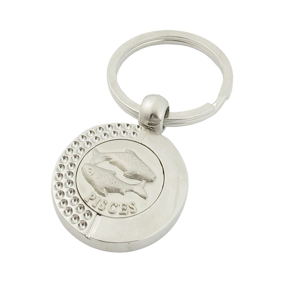 Pisces Relievo Round Dangling Pendant Keyring Keychain Silver Tone