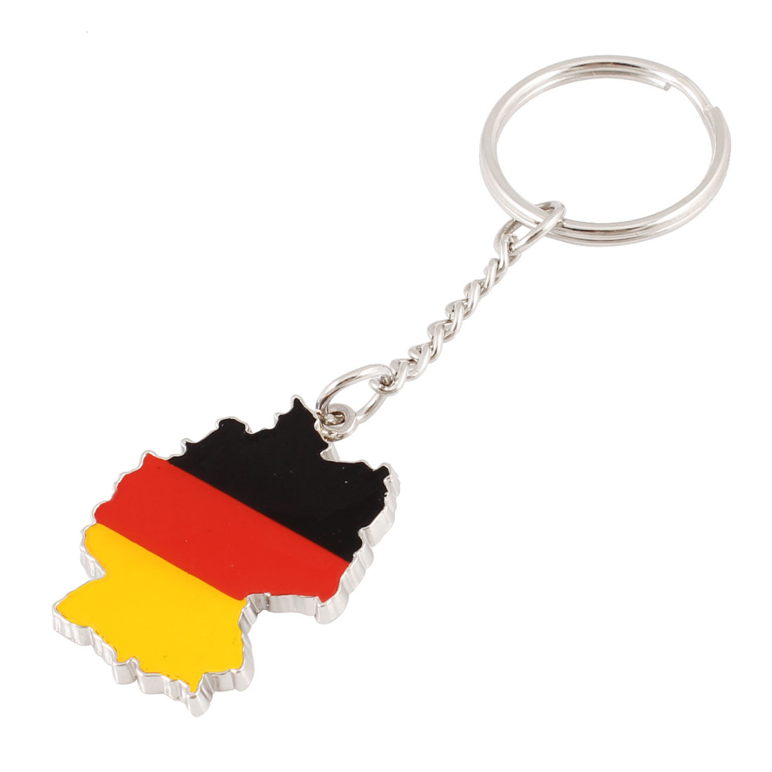 Three Color 4cm High Metal Pendant Flat Split Keychain Keyring
