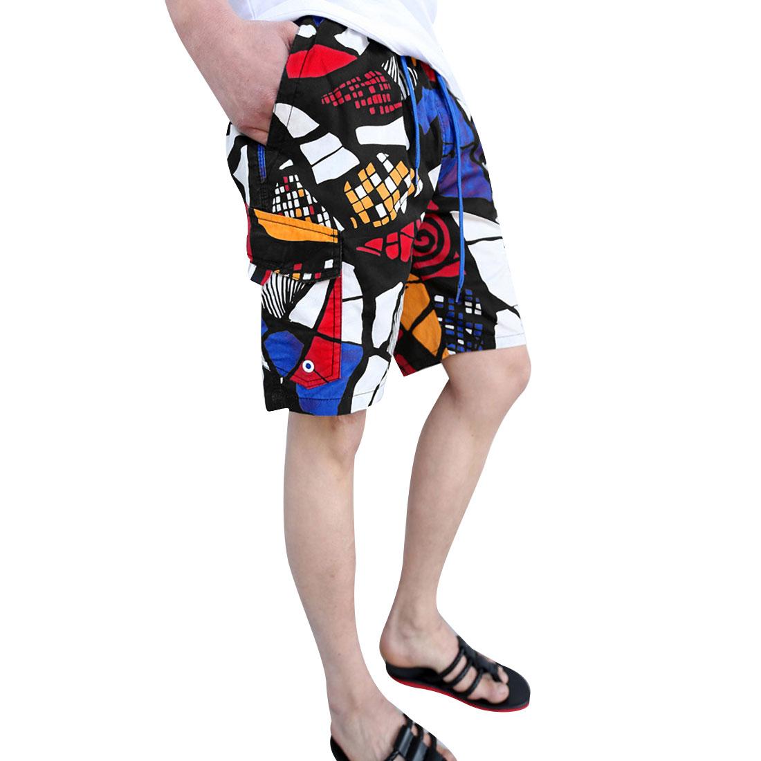 Mens Multicolor Drawstring Elastic Waist Novelty Prints Shorts W29