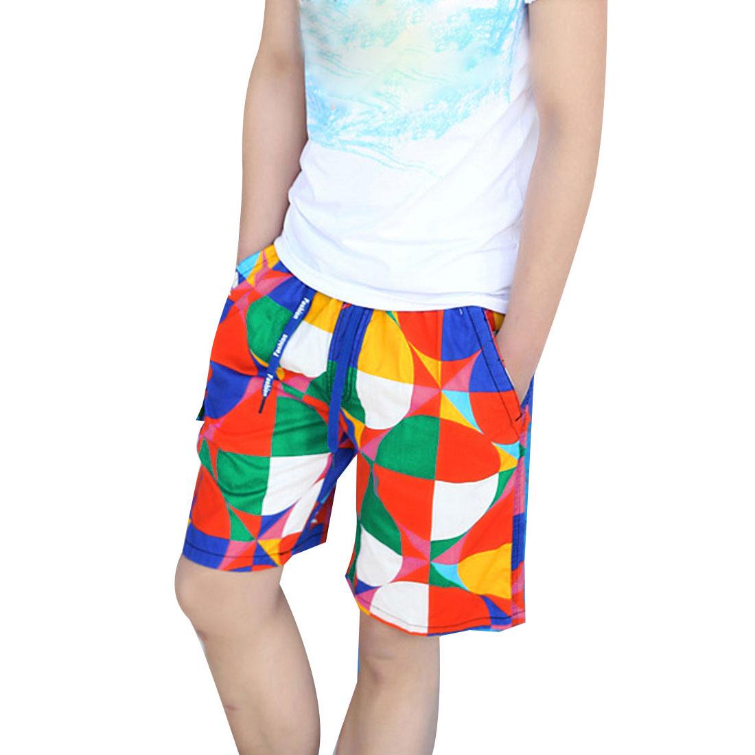 Mens Multicolor Drawstring Elastic Waist Geometric Prints Summer Shorts S