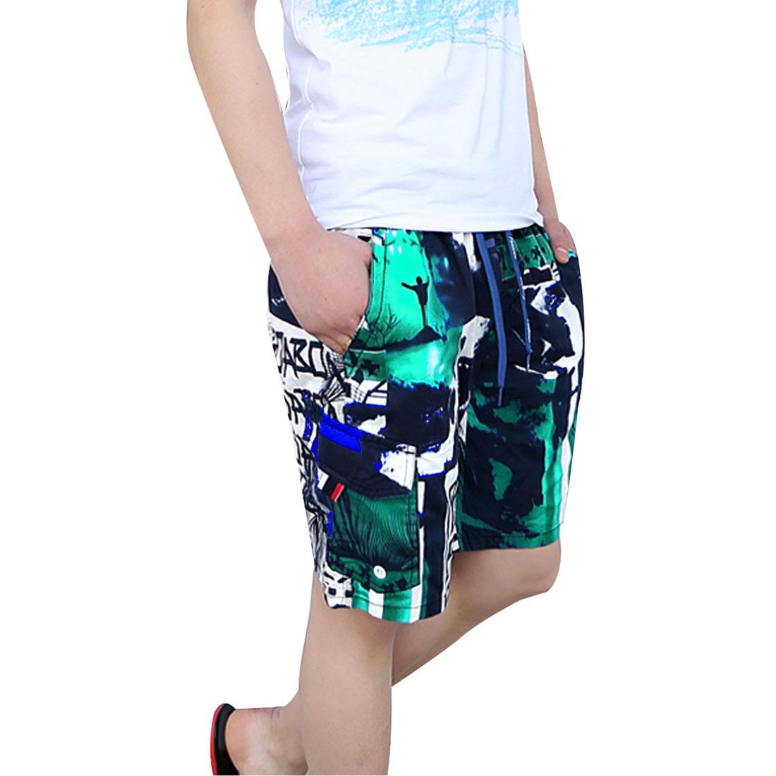 Mens Green Blue Three Pockets Drawstring Elastic Waist Shorts W29