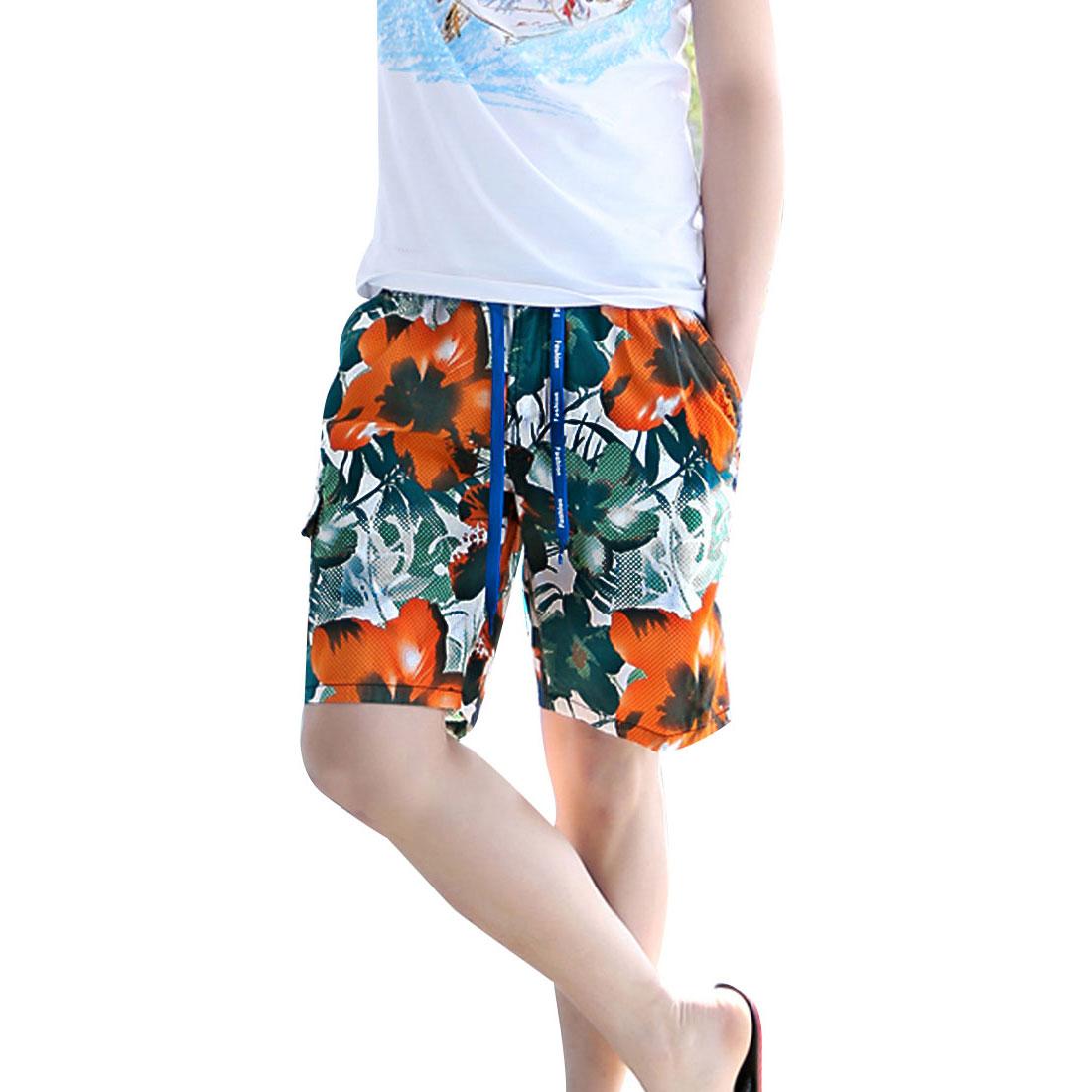 Mens Teal Color Orange Drawstring Elastic Waist Floral Prints Shorts W29