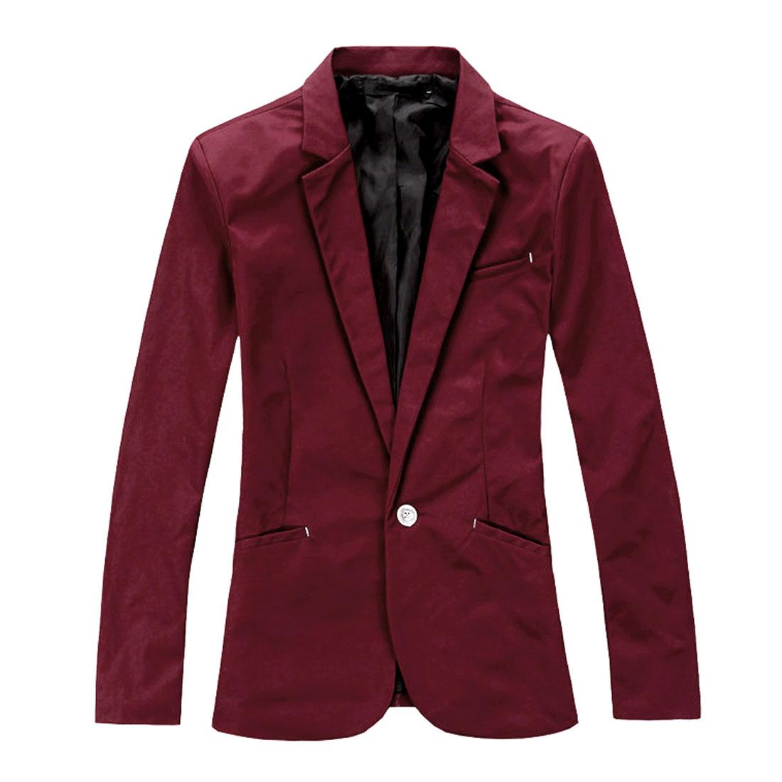 Mens Burgundy Long Sleeve Chest Pocket Padded Shoulder One Button Blazer M