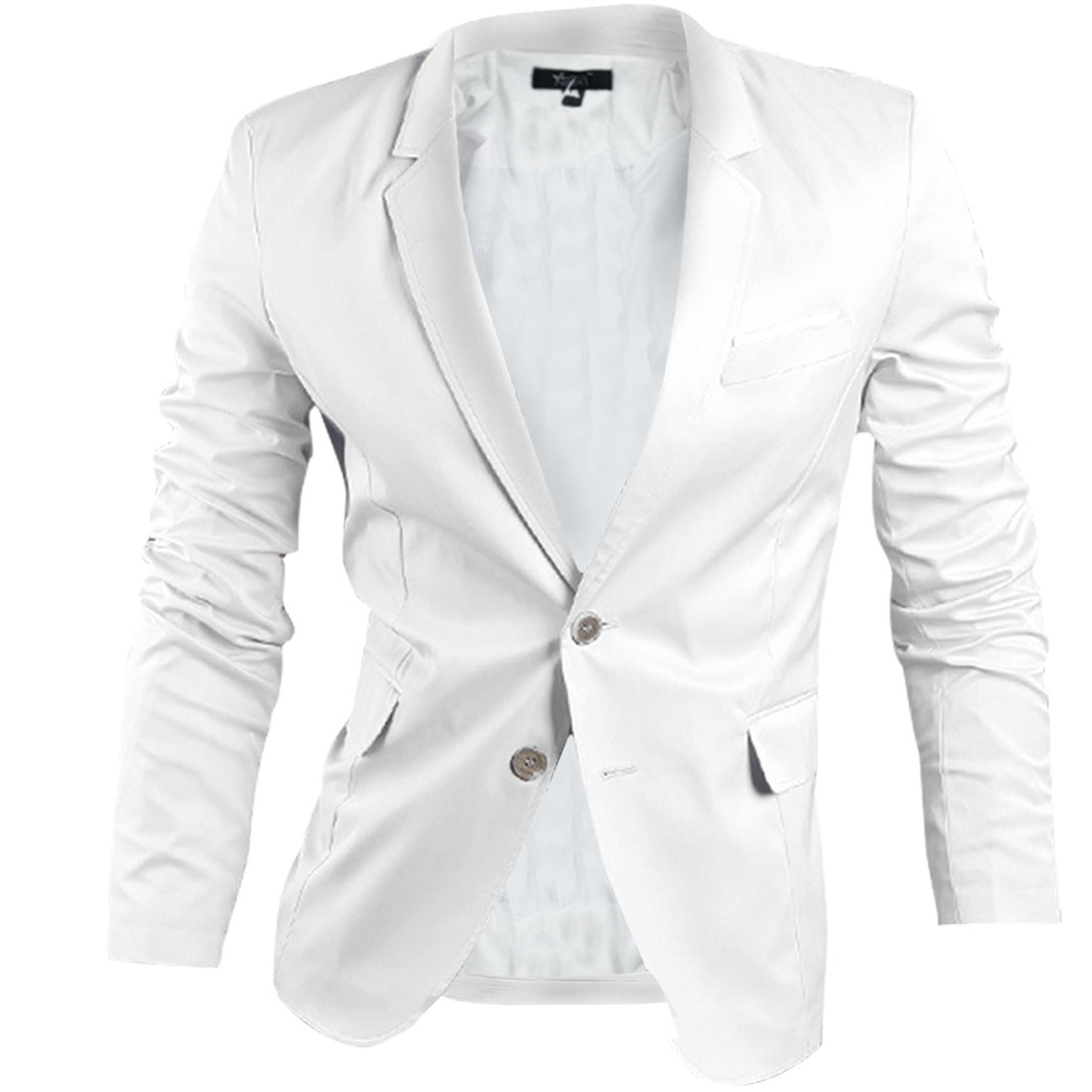 Man Buttons Front Padding Shoulder Long-sleeved Lining Blazer White S