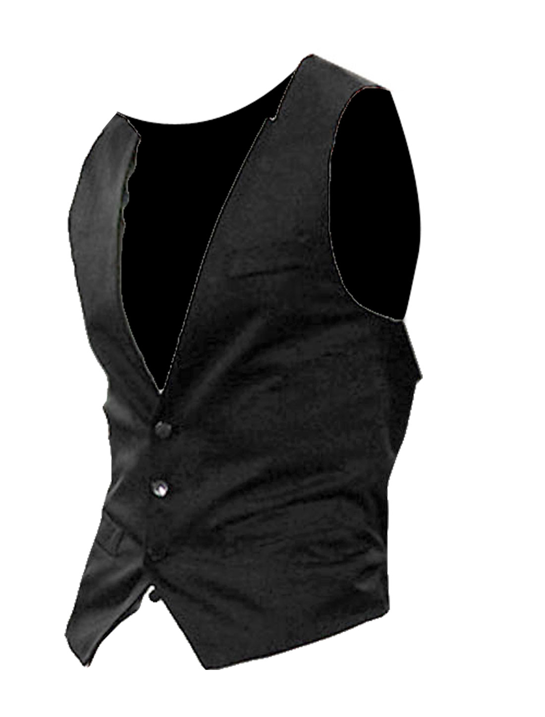 Mens Black Sleeveless Decorative Pockets Adjustable Buckle Back Vest S