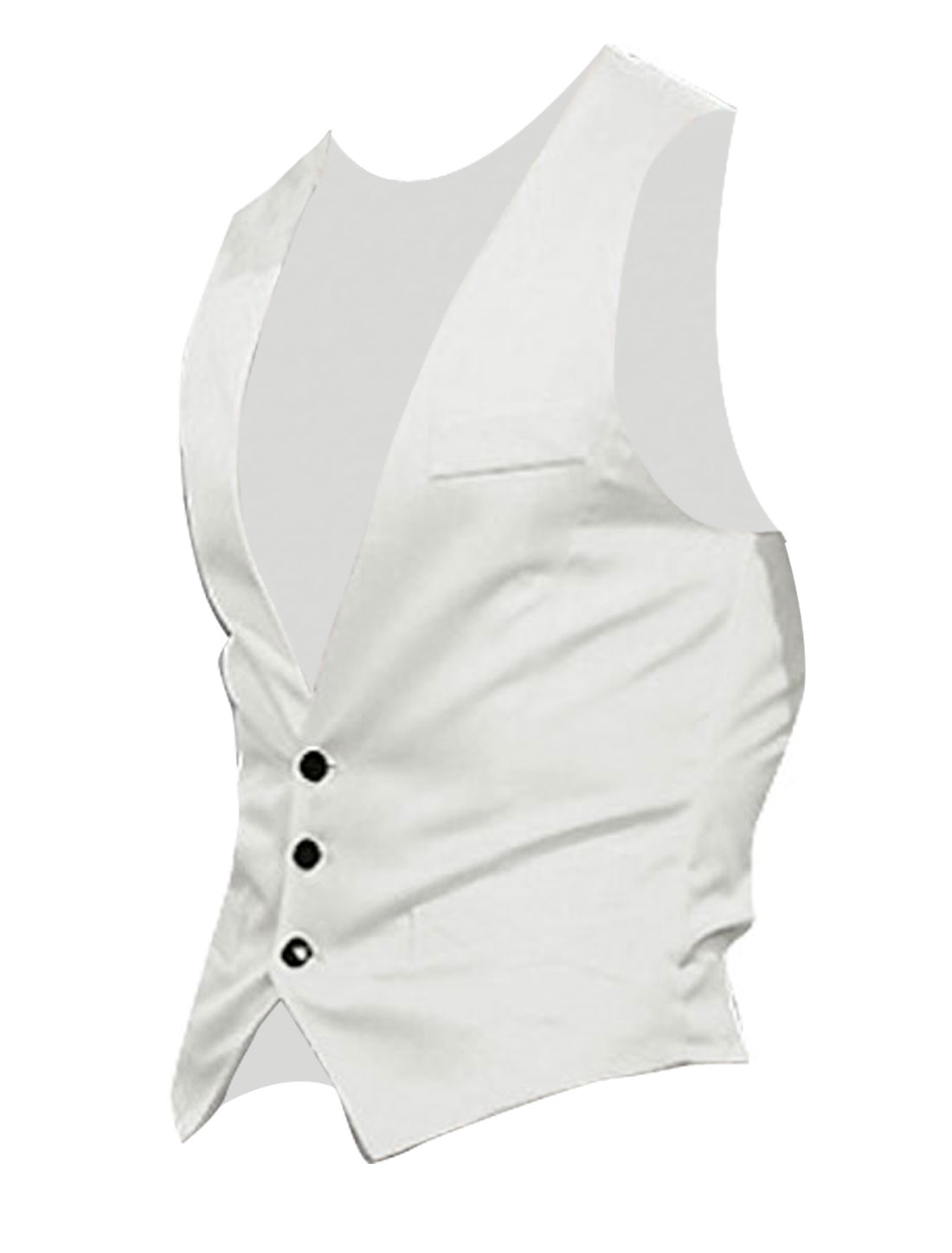 Men White Deep V Neck Sleeveless Four Button Closure Casual Vest S