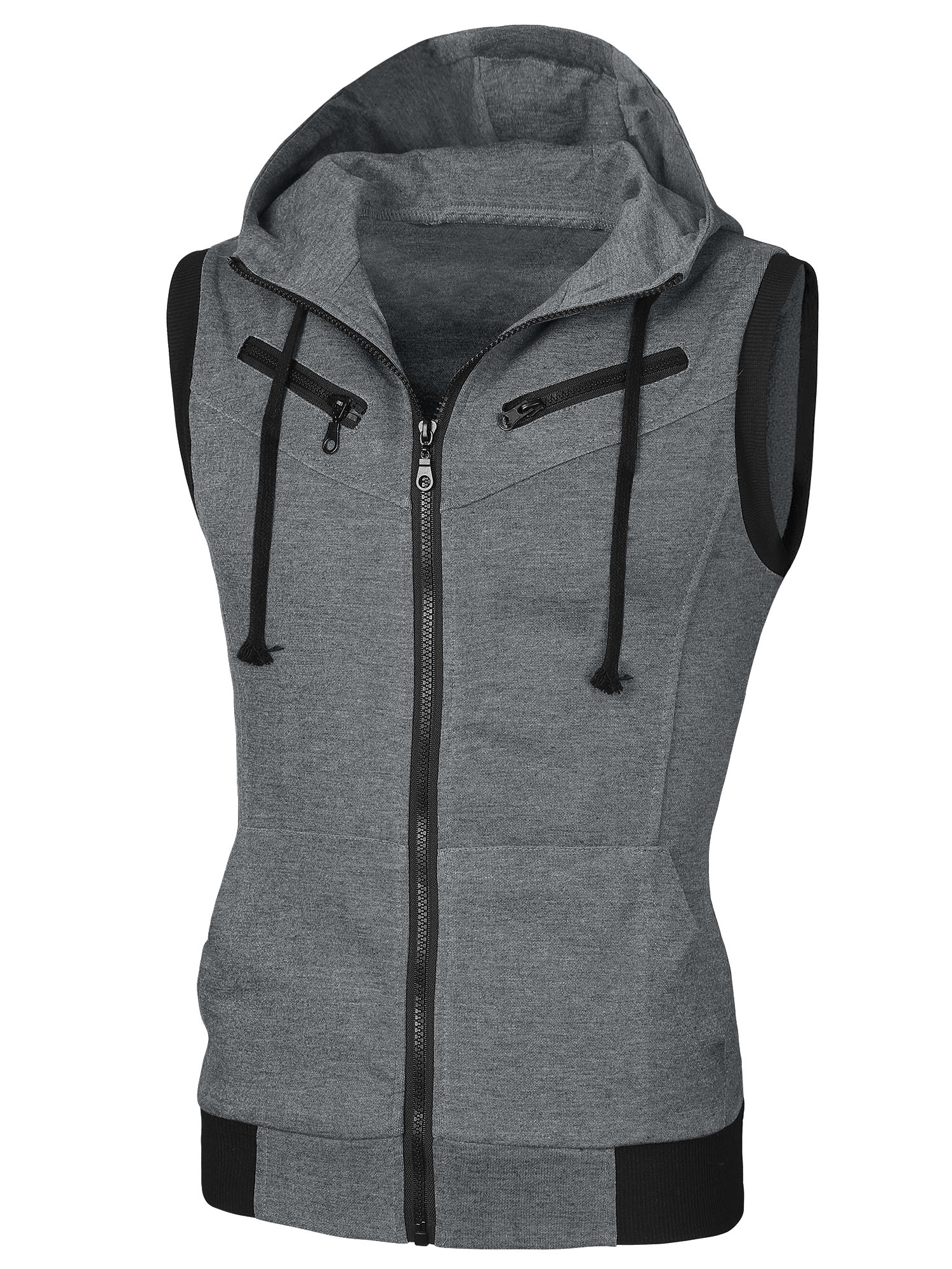 Men Gray Zip Up Front Pockets Detail Ribbing Hem Leisure Hoody Vest M