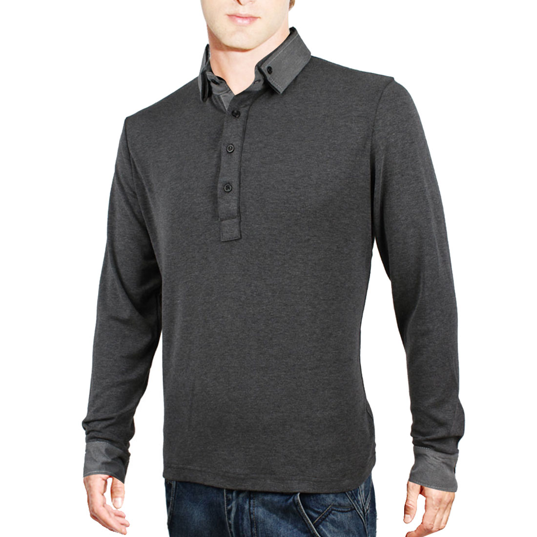 Mens Dark Gray Long Sleeves Buttoned Cuff Casual Polo Shirt M