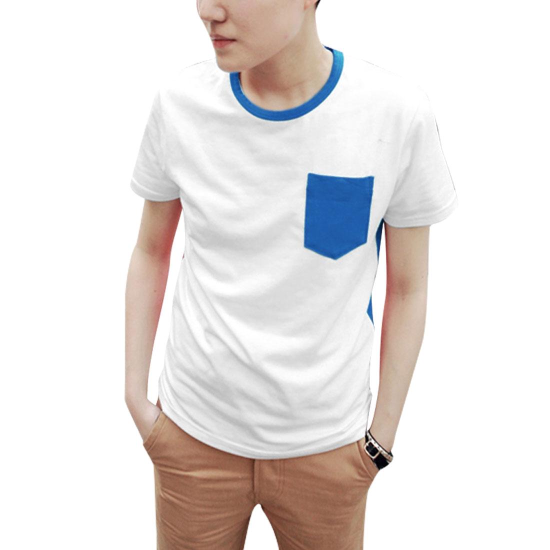 Mens Short Sleeve Splice Chest Patch Pocket Royalblue White Shirt M