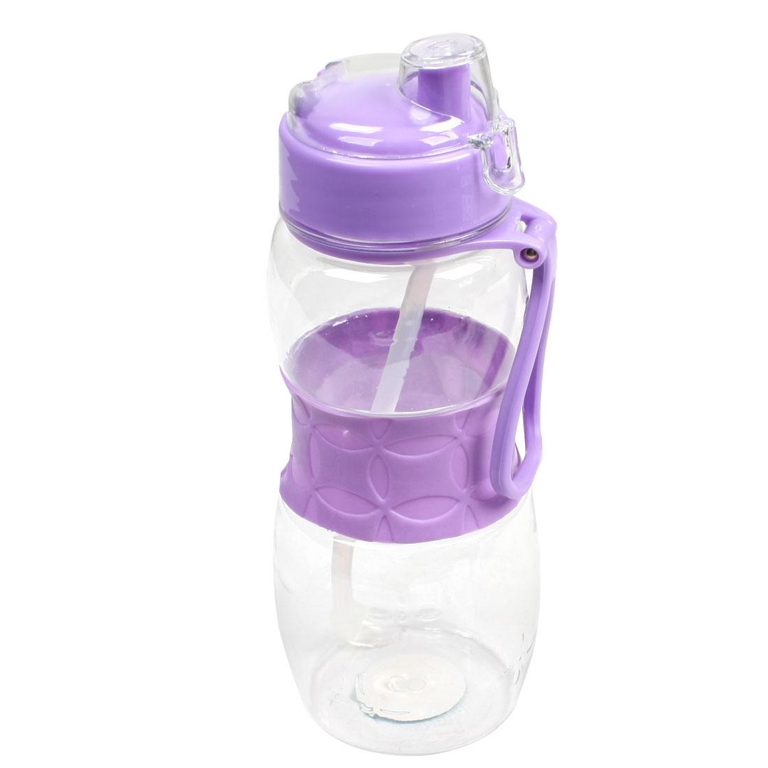 750ml Purple Transparent Plastic Handy Sports Drinking Water Holder Bottle