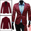 Mens Burgundy Long Sleeve Chest Pocket Padded Shoulder One Button Blazer M