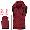 Men Burgundy Mock Neck Sleeveless Pockets Front Hoody Vest M