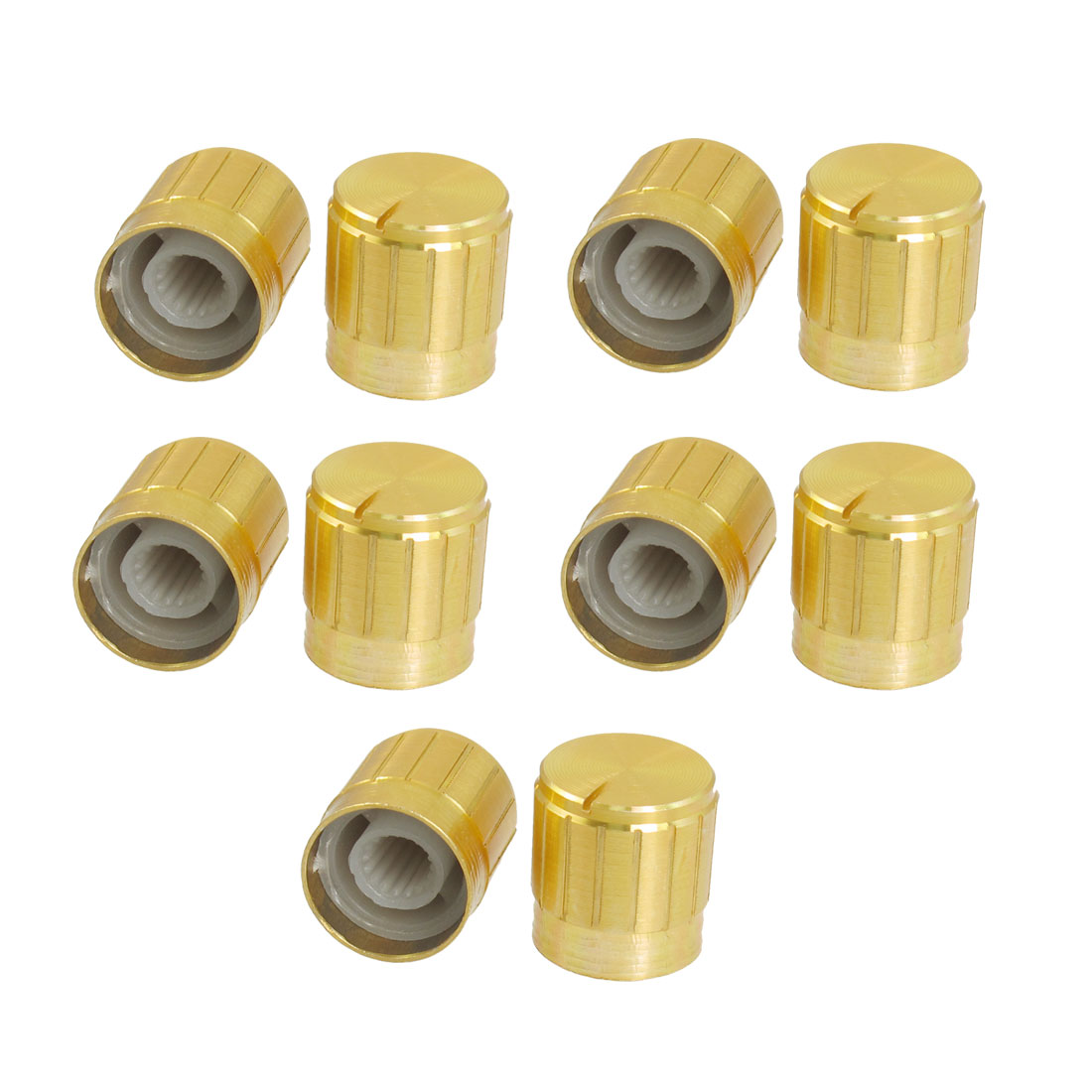 10 Pcs Gold Tone 6mm Knurled Shaft Insert Dia. Potentiometer Control Knobs