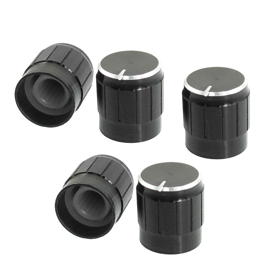 5 Pcs Black Metal 6mm Knurled Shaft Insert Dia. Potentiometer Control Knobs