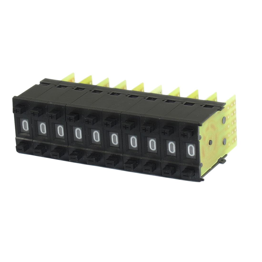 10 Pcs KM1 0-9 Digital BCD Code Thumbwheel Pushwheel Switches Black 22mm x 8mm