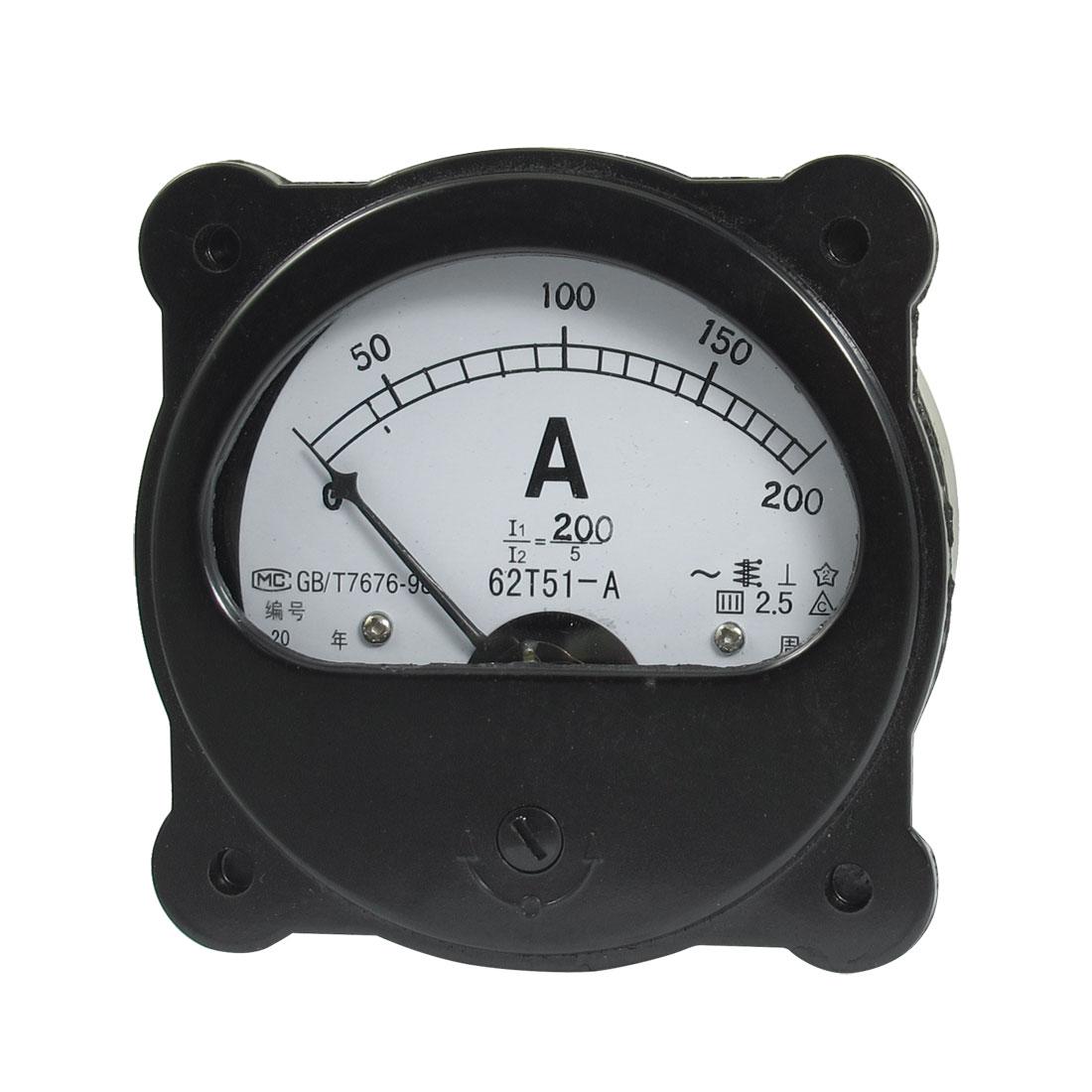 Class 2.5 AC 0-200A Screw Mounted Amperemeter Panel Meter Gauge Black