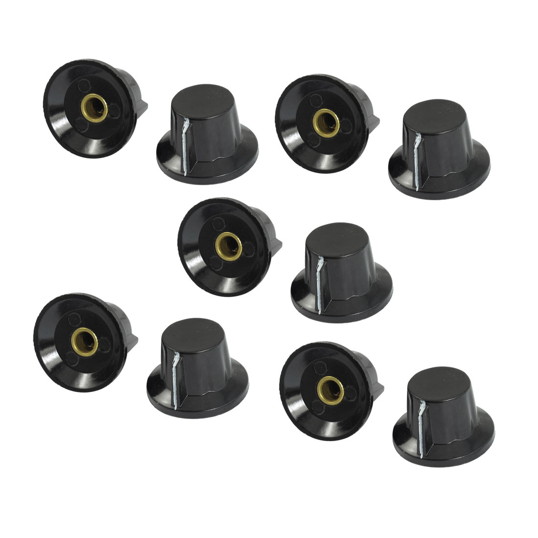 10 Pcs Black 19mm Top 6mm Shaft Insert Dia Potentiometer Rotary Knobs
