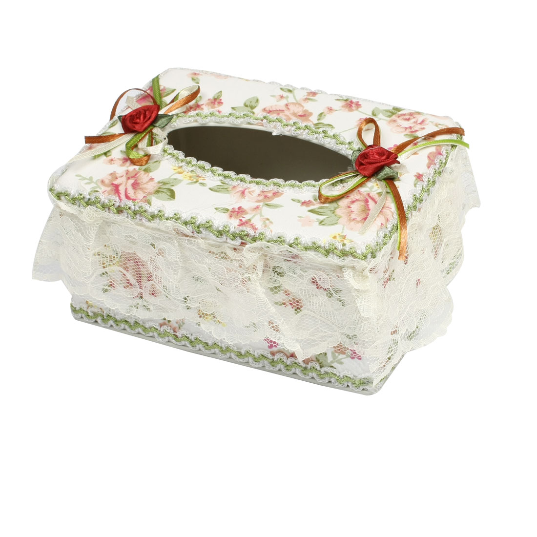 Home Office Lace Edged Floral Plastic Rectangular Tissue Box Holder Green White