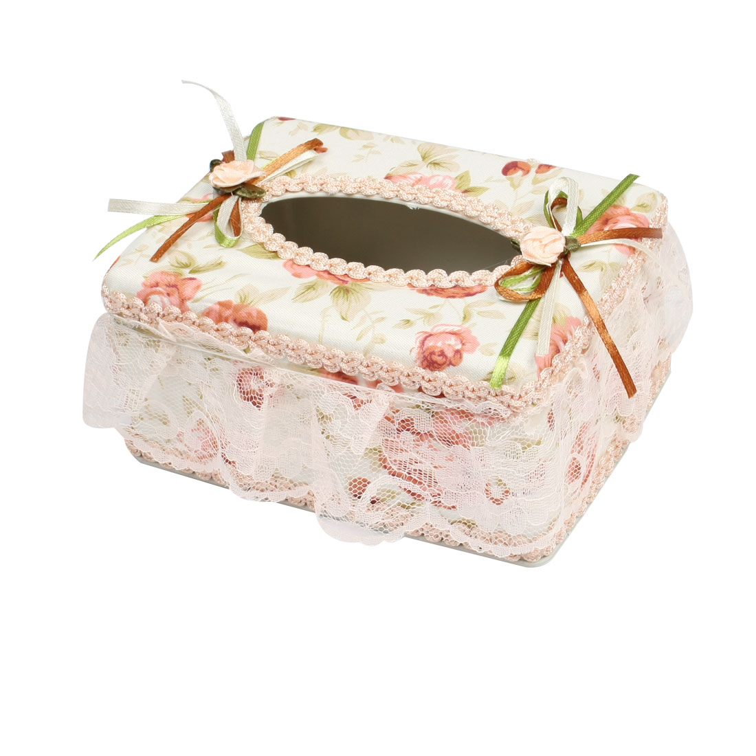 Household Flowers Decor Plastic Tissue Paper Case Holder Napkin Box Beige White