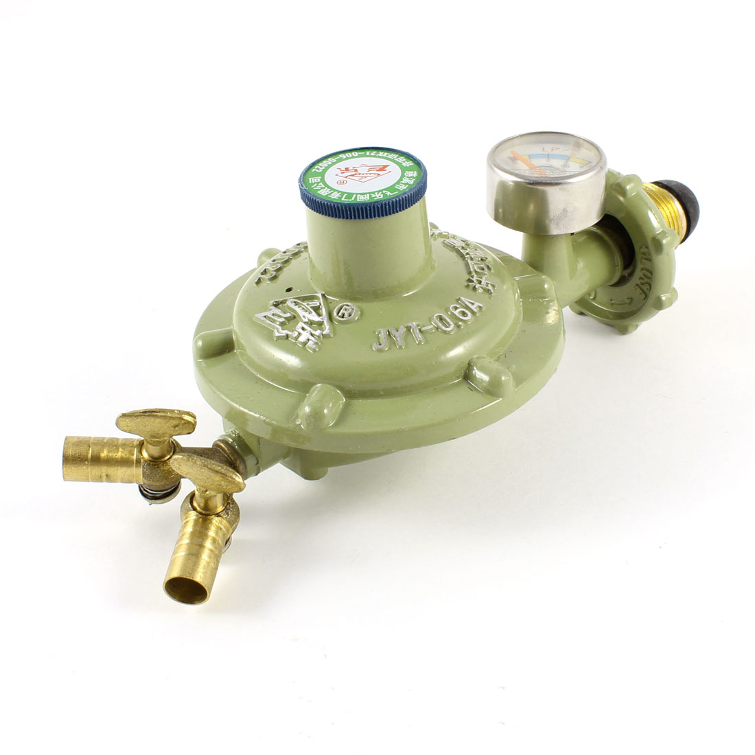 "1/2"" Thread Bottled Compressed Gas Pressure 2 Outlet Regulator Valve Green"