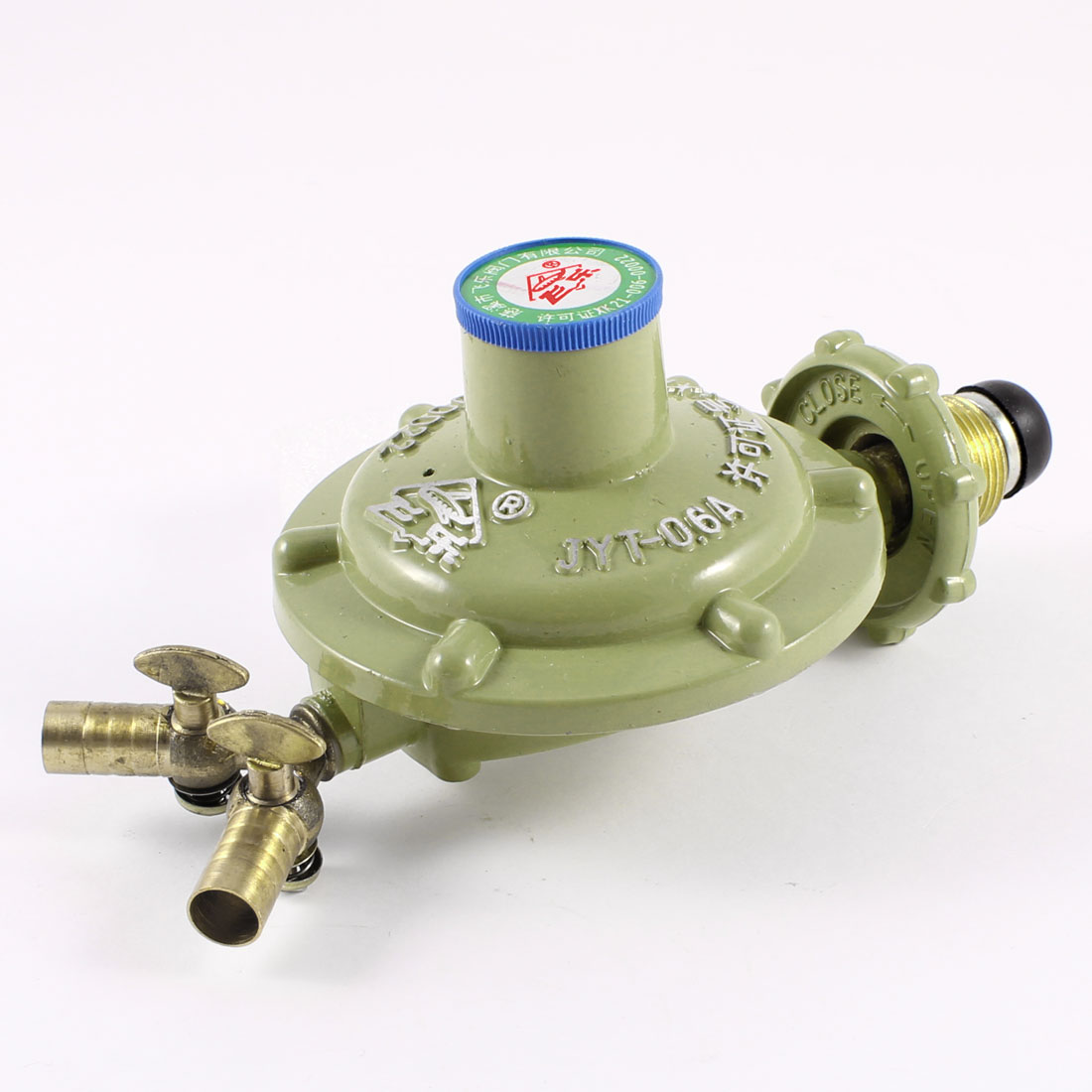 One Inlet Dual Outlet Liquefied Compressed Gas Pressure Regulator Green