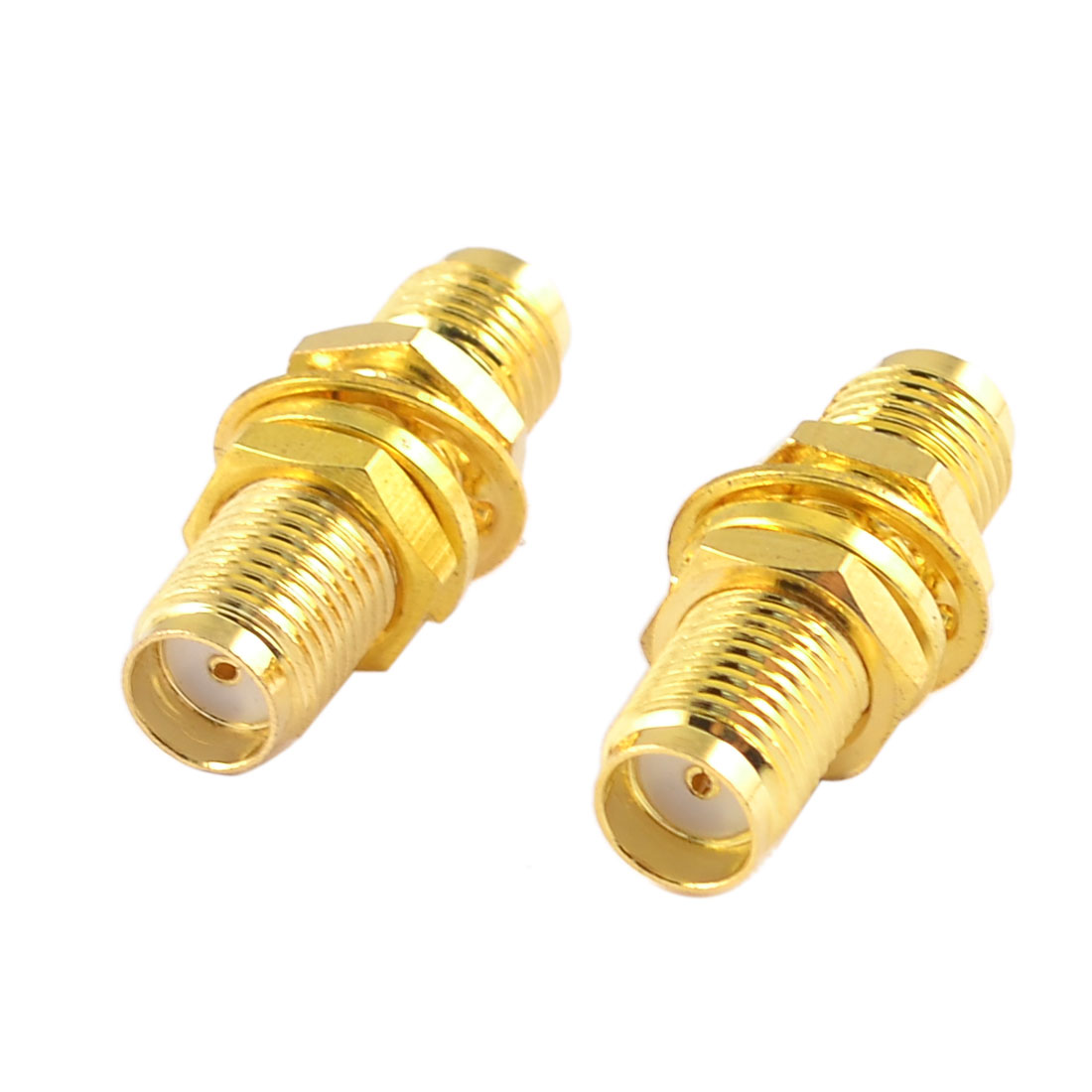 2 Pcs Straight SMA Female to Female Connector Adapter Gold Tone