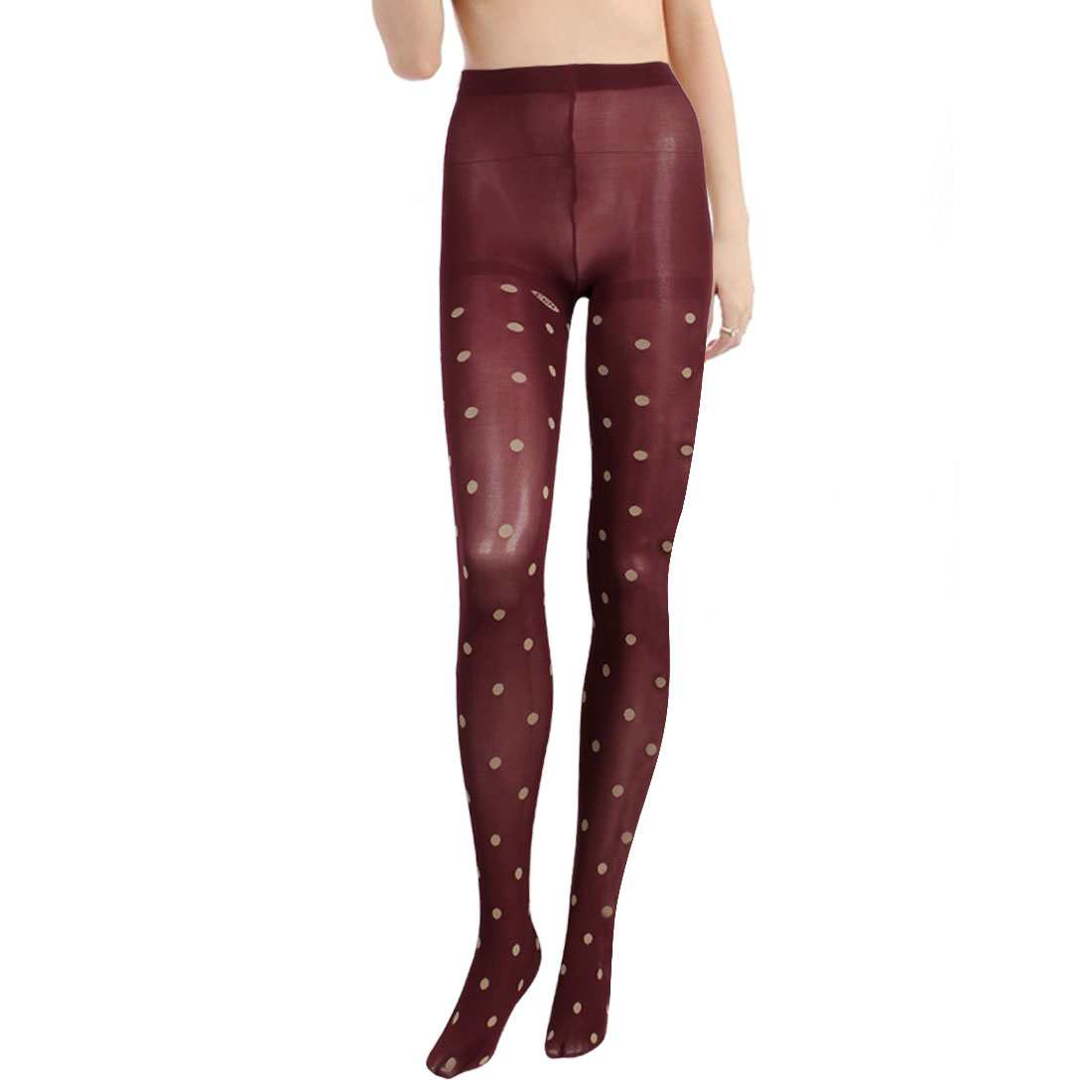 Polka Dots Print Full Footed Leggings Thin Tights Burgundy XS for Women
