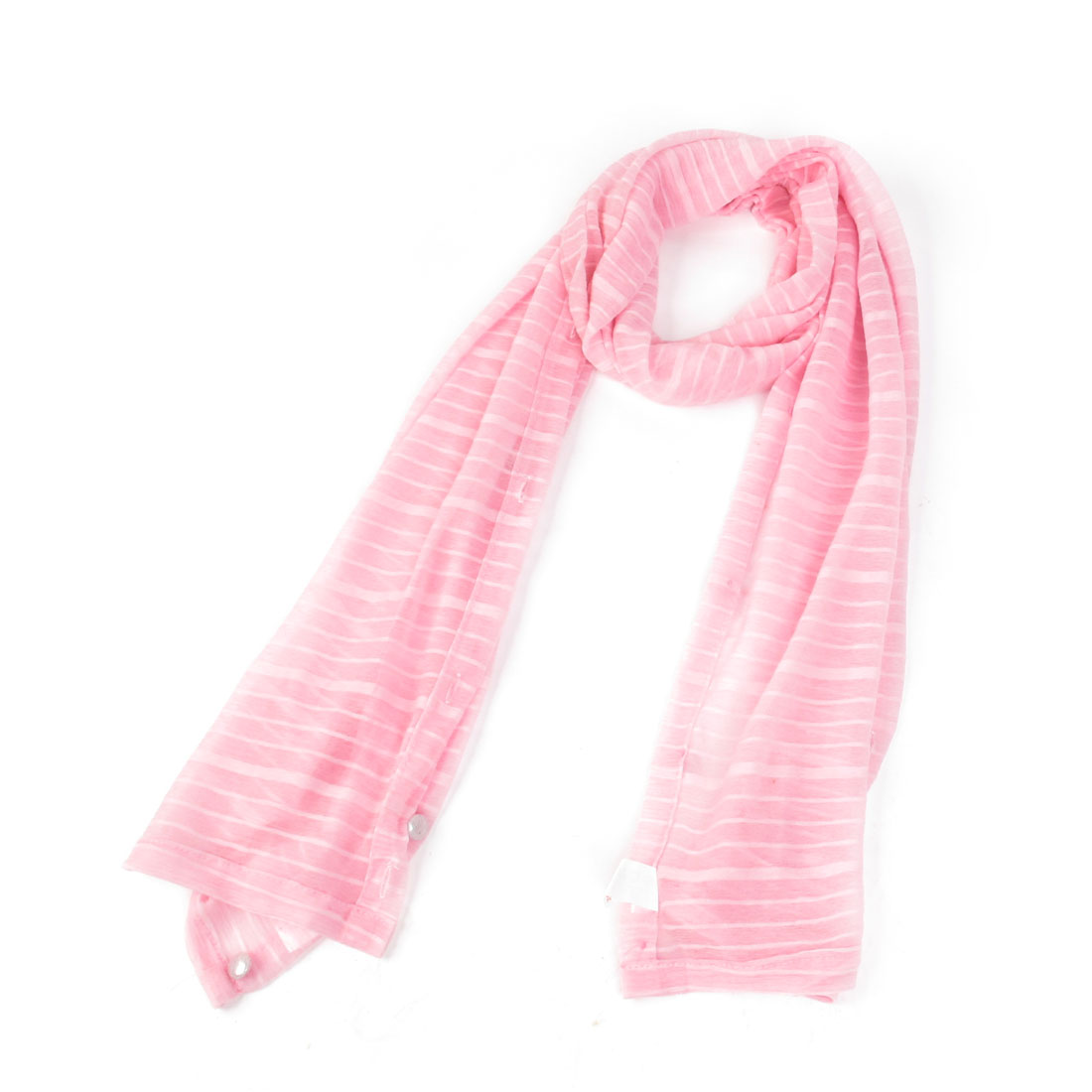 Woman Sun UV Protection Pink Sheer Stylish Shoulder Wrap Scarf Stole Shawl