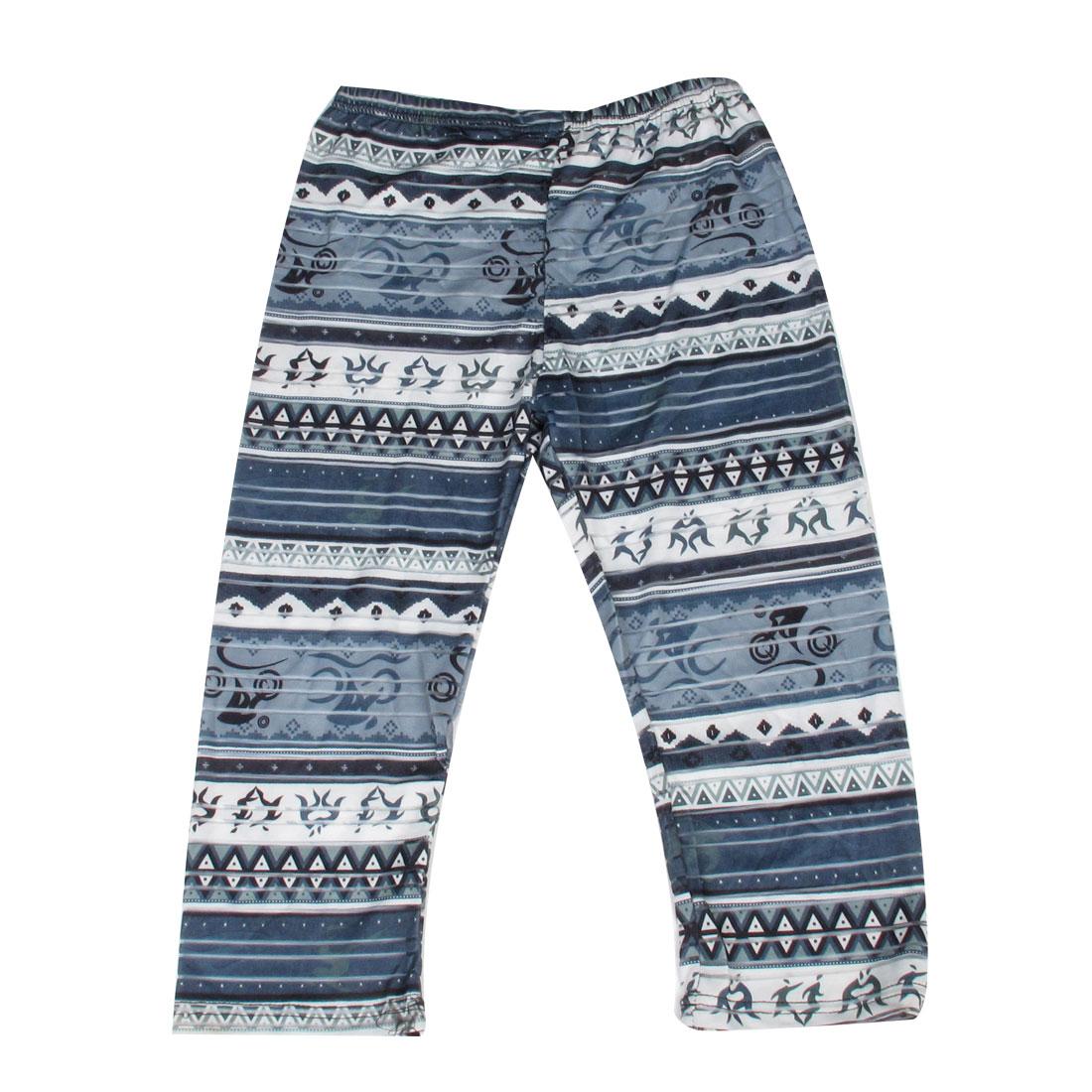 Women Elastic Waist Steel Blue Jacquard Print Capris Leggings XS