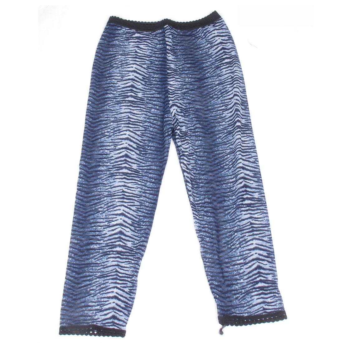 Women Korea Style Laced Cuff Zebra Print Capris Leggings Blue XS